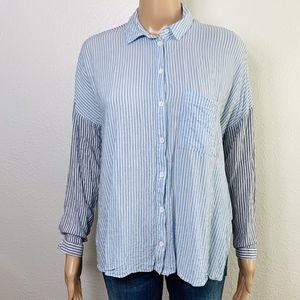 Topshop Tops - EUC TOPSHOP Stripe Button Down Blouse 4